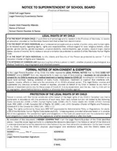 School Notice of Liability-Manitoba